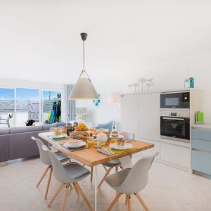 Open plan lounge and kitchen diner